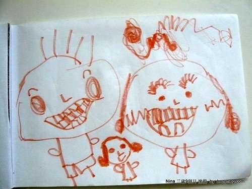 NINA三歲9個月塗鴉 -開心大笑的爸爸媽媽