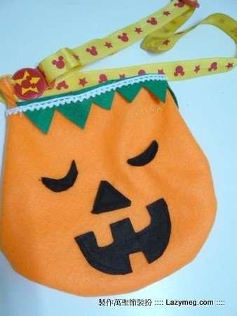 Halloween 萬聖節-沒格的不織布作品 南瓜包
